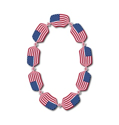 Number 0 made of USA flags in form of candies vector image