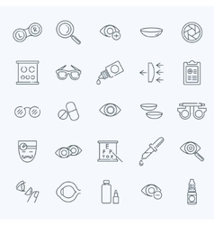 Oculist correction eyes health icons set vector image