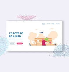 old lady feed birds website landing page happy vector image