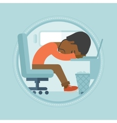 Overworked employee sleeping at workplace vector