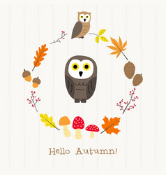 owl with autumn frame card vector image