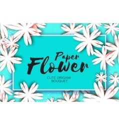 Paper cut flower greeting card Rectangle frame vector