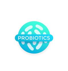 Probiotics bacteria badge vector