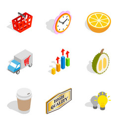 Promotional icons set isometric style vector