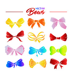 rainbow bows hand drawn set vector image