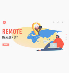 Remote management landing page template vector