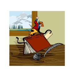 Rodeo cowboy riding book retro vector