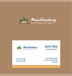 scenery logo design with business card template vector image