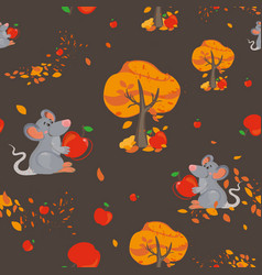seamless pattern with cute mouse and red apple vector image