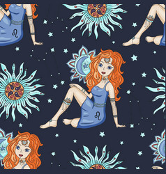 Seamless pattern with zodiac leo girl sign vector
