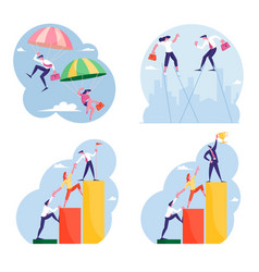 set businesspeople falling down with parachute vector image