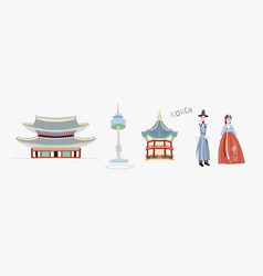 set doodle flat pagoda vector image