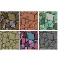 set flat seamless stone textures vector image