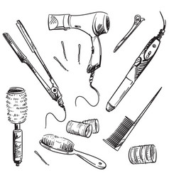 Set hair styling tools sketch vector