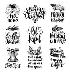 set hand written christmas phrases hand vector image