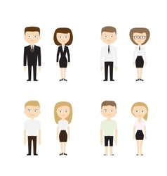 Set of diverse people on white background vector image