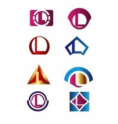 Set of letter L logo Branding Identity Corporate vector image