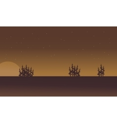 Silhouette of fields on brown backgrounds vector image