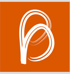 simple b initials line art calligraphy logo vector image