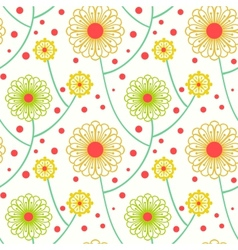 Simple floral pattern with bold flowers vector