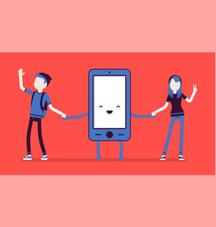 Smartphone friendship with people vector