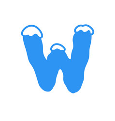 snow letter logo w vector image