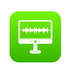 sound waves icon digital green vector image