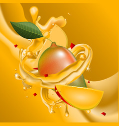Splash of mango juice in motion vector