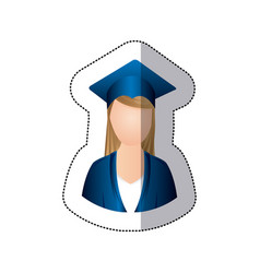 sticker colorful half body woman with graduation vector image