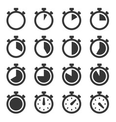 stopwatch icons set on white background vector image