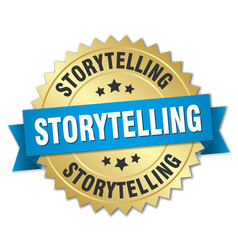 Storytelling round isolated gold badge vector