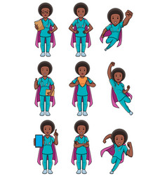 super nurse african female set vector image