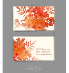 Template business card with autumn leaves vector