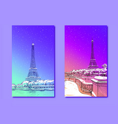 trendy cover template eiffel tower paris france vector image