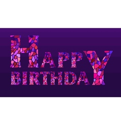 Watercolor mosaic Happy Birthday Greeting Card vector