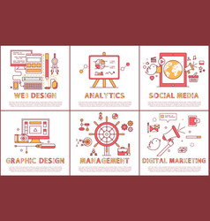 web design and management set vector image