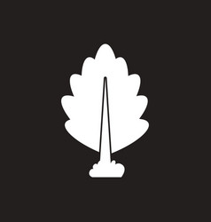 White icon on black background tree vector