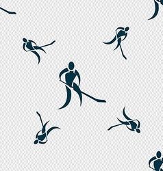 Winter sport Hockey icon sign Seamless pattern vector