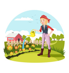 Woman watering flowers at garden or yard vector