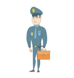 Young caucasian policeman holding a briefcase vector
