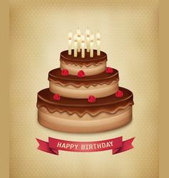 Background with birthday chocolate cake vector