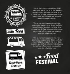 chalkboard food festival poster design vector image