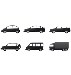 Collection of isolated car silhouette vector