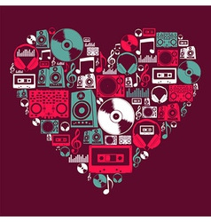 Dj Music love heart vector image