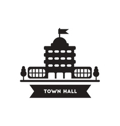 Flat icon in black and white style building town vector