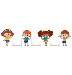 four kids with blank papers vector image