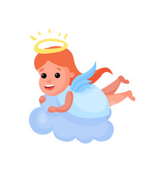 lovely redhead little angel playing on a cloud vector image vector image
