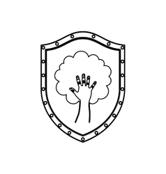 Silhouette shield with hand in shape of tree vector