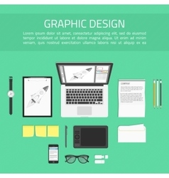 Graphic designer workplace top view vector image