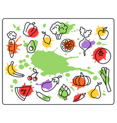 healthy food vegetables and fruits bright blots vector image vector image